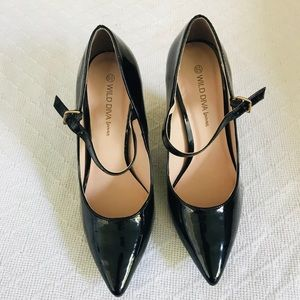 Patent leather wedge Mary Janes